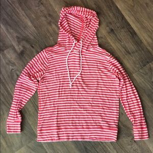 J Crew Lightweight Pink and White Striped Hoodie.